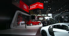 Audi exhibit at the New York International Auto Show Stock Footage