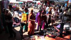 Market on the street of Goa, India Stock Footage