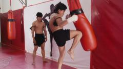 4of20 Asian man training kickboxing in gym as fighter Stock Footage