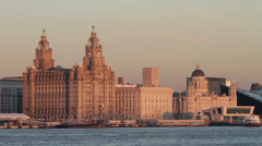 liver buildings and liverpool waterfront skyline, england - stock footage