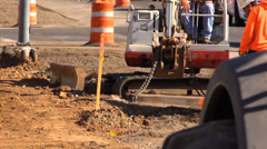 Construction, road widening , utility cover Stock Footage