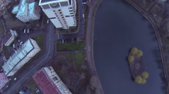 Egersky pond among residential houses at autumn evening Stock Footage