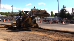 Construction, road widening, homeless cans Stock Footage