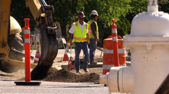 Stock Video Footage of Construction, road widening, heavy traffic