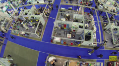 Stands with people at International Exhibition ExpoClean Stock Footage