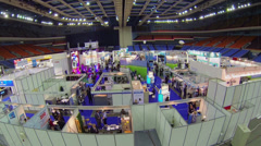Area of International Exhibition ExpoClean in sport complex Stock Footage