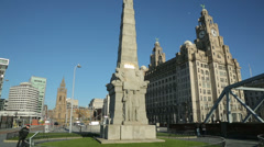 Titanic memorial, st nicholas place, liverpool pier head, england Stock Footage
