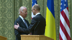 Meeting of  Joseph Biden and Arseniy Yatsenyuk in  Kiev. Stock Footage