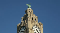 liver bird and building, liverpool, england - stock footage