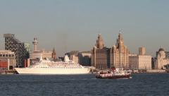 Mv discovery cruise ship, berthed at liverpool, england Stock Footage