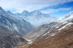 4K. Movement of the clouds on the mountains Thaog, Himalayas, Nepal.  Stock Footage