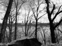 Stylized Black and White Driving Along Hudson River in New York Stock Video Stock Footage