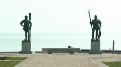 4K Balatonfured Hungary Fiherman and Ferryman Statues Stock Footage
