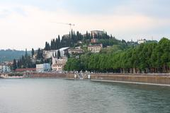 Evening view of Adige river, Verona - stock photo