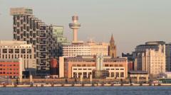 Liverpool waterfront skyline, england Stock Footage