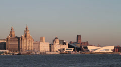 Liver buildings and liverpool waterfront skyline, england Stock Footage