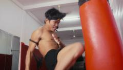 6of20 Asian man training kickboxing in gym as fighter Stock Footage