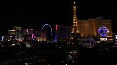 Bellagio Fountain Paris Las Vegas at Night Stock Video Stock Footage