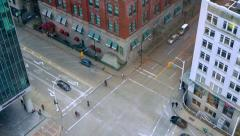 City Intersection Crosswalk, Top Down View Stock Footage