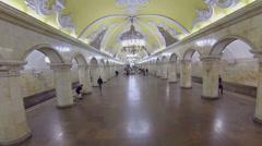 Train arrives to metro station Komsomolskaya with people Stock Footage