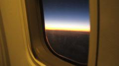 Sunrise from an aeroplane window Stock Footage
