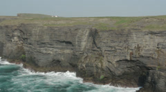 Pan from Cliffs to Ocean on Loop Head County Clare Ireland Stock Footage
