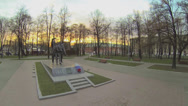Stock Video Footage of Monument to pilots of French regiment Normandie-Niemen in park