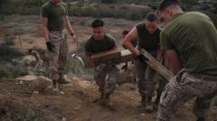 Marines Cleaning up on Earth Day 1 Stock Footage