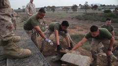 Marines Cleaning up on Earth Day 4 - stock footage