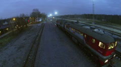 Diesel train of RZD company stands on railroad track Stock Footage