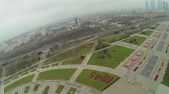 Cityscape with park of memorial complex on Poklonnaya Hill Stock Footage