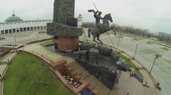 Monument with St. George piercing serpent near Central Museum Stock Footage