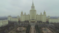 Stock Video Footage of Main building of Moscow State University against cityscape
