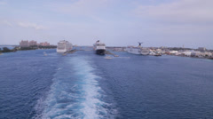 Cruise Ship's wake as it leaves the port of Nassau, Bahamas Stock Footage