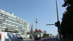 Traffic in Berlin in front of the TV-Tower Alex Stock Footage
