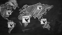 World tweet Connection on Blackboard - stock footage