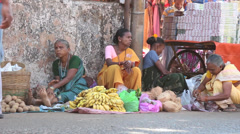 Market on the street of India Stock Footage