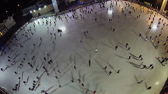 Counterclockwise skating on rink in recreational park Stock Footage
