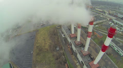 Fuming tubes of district heating station Otradnoe at autumn Stock Footage