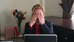 Businesswoman having headache Stock Footage