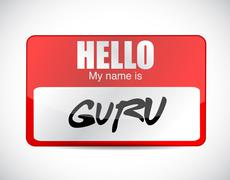 guru name tag illustration design - stock illustration