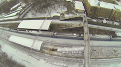 Departure of train from railroad station at winter day. Stock Footage