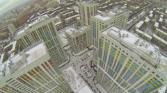 Residential complex Bogorodsky at winter day in megalopolis Stock Footage