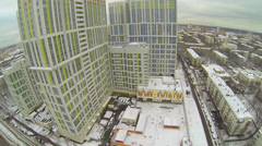 Urban sector with dwelling complex Bogorodsky at winter day Stock Footage