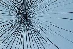 Broken window pane Stock Photos