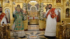 Christ is Risen in a Russian Orthodox Church - stock footage