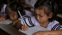 Dedicated Student in Burma Stock Footage