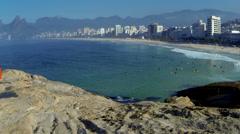 Aerial footage of Ipenema beach brazil Stock Footage