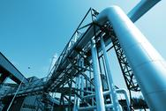 Stock Photo of Industrial zone, Steel pipelines in blue tones