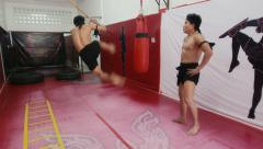 16of20 Asian man training kickboxing in gym as fighter Stock Footage